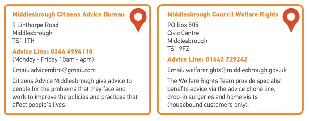 Contact details for Middlesbrough CAB and Middlesbrough Council Welfare Rights
