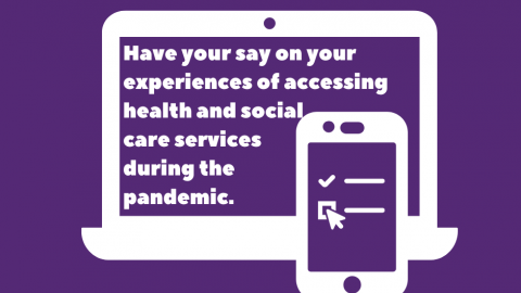 Laptop and phone with text relating to online health and social care survey.