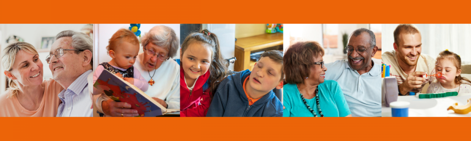 Five photos of people depicting carers on orange background
