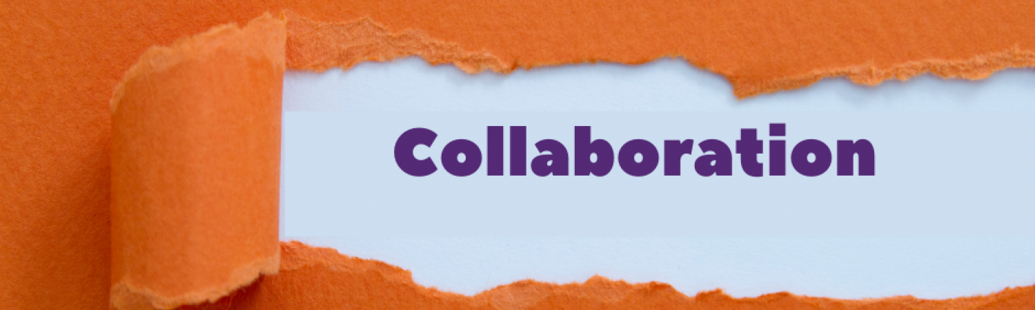 Orange paper with rip revealing word 'Collaboration'